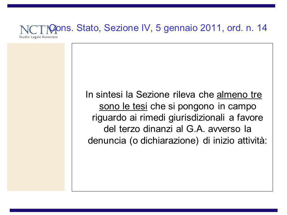 Cons. Stato, Sezione IV, 5 gennaio 2011, ord. n. 14 In sintesi la Sezione rileva che almeno tre sono le tesi che si pongono in campo riguardo ai rimed