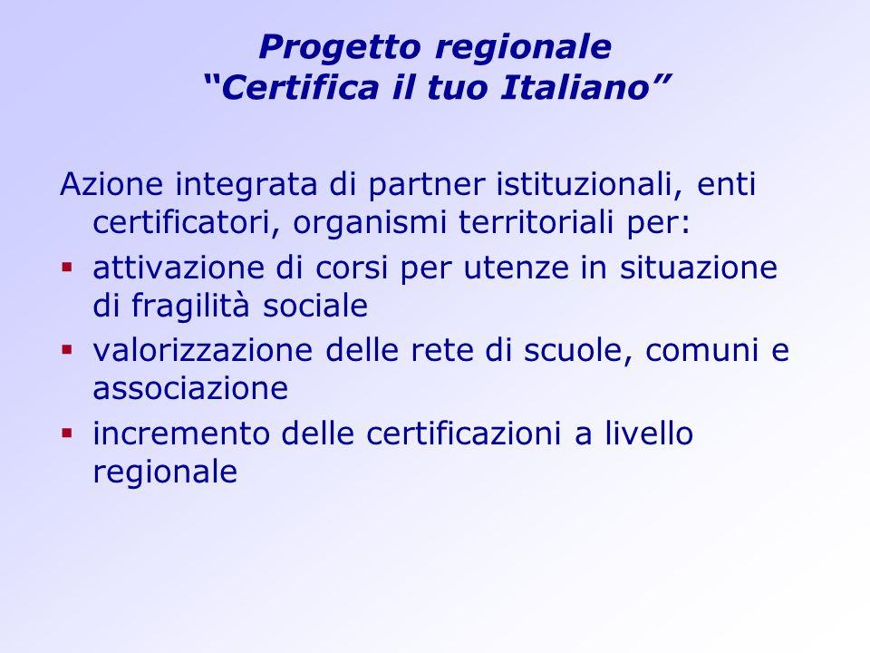 Progetto regionale Certifica il tuo Italiano Azione integrata di partner istituzionali, enti certificatori, organismi territoriali per: attivazione di