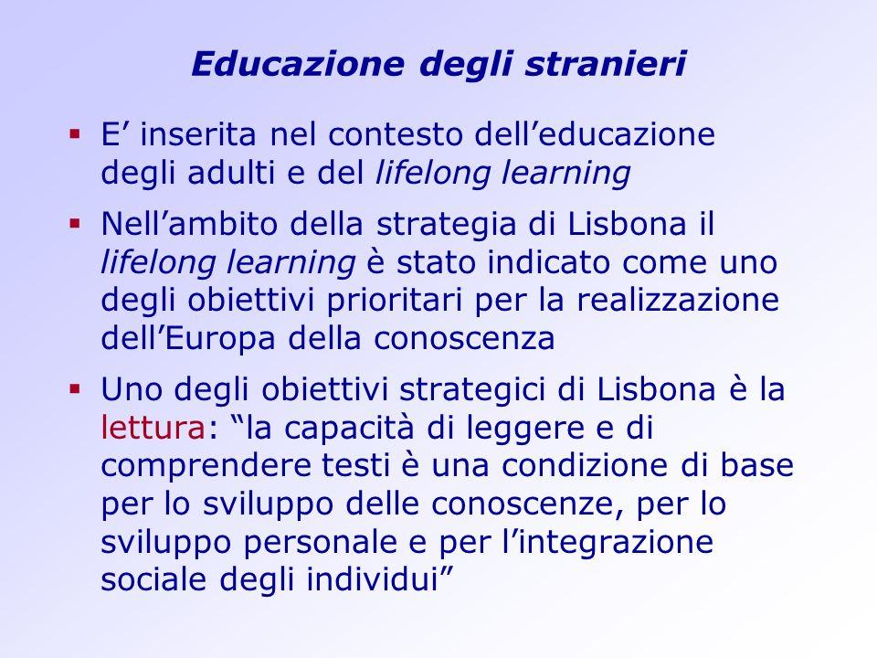 Educazione degli stranieri E inserita nel contesto delleducazione degli adulti e del lifelong learning Nellambito della strategia di Lisbona il lifelo