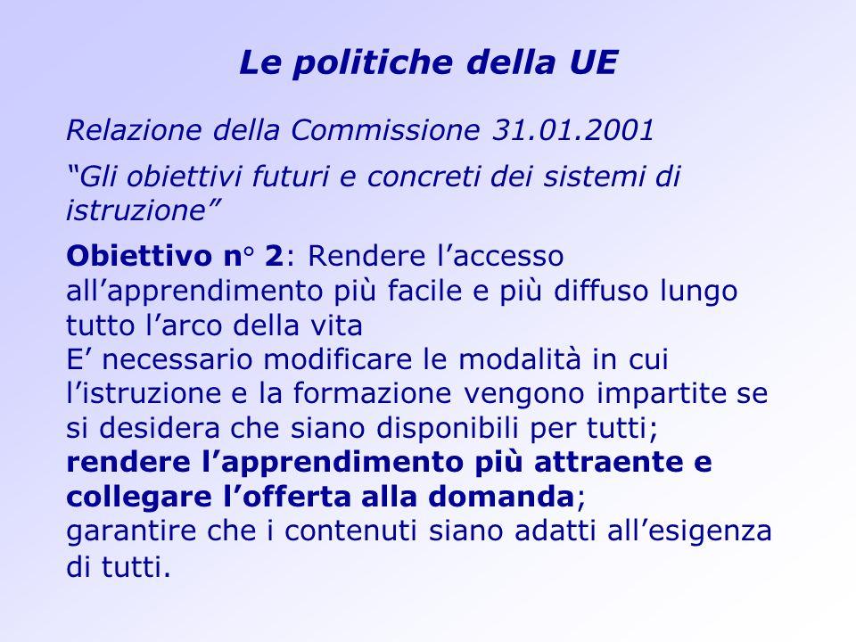 Le politiche della UE Relazione della Commissione 31.01.2001 Gli obiettivi futuri e concreti dei sistemi di istruzione Obiettivo n° 2: Rendere laccess