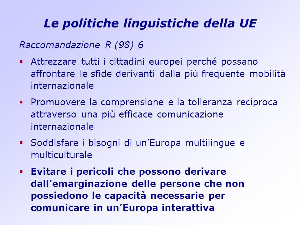 Le politiche linguistiche della UE Raccomandazione R (98) 6 Attrezzare tutti i cittadini europei perché possano affrontare le sfide derivanti dalla pi