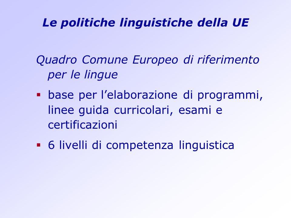 Le politiche linguistiche della UE Quadro Comune Europeo di riferimento per le lingue base per lelaborazione di programmi, linee guida curricolari, es