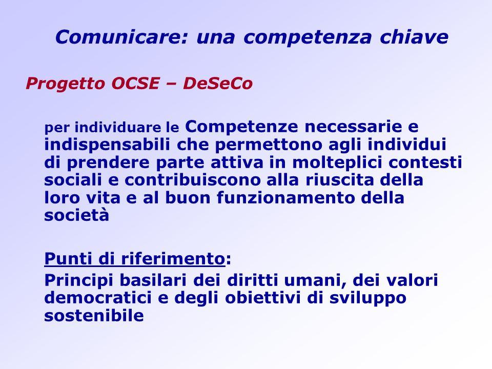 Comunicare: una competenza chiave Progetto OCSE – DeSeCo per individuare le Competenze necessarie e indispensabili che permettono agli individui di pr