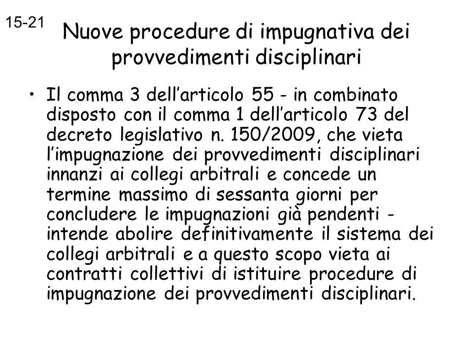 Nuove procedure di impugnativa dei provvedimenti disciplinari Il comma 3 dellarticolo 55 - in combinato disposto con il comma 1 dellarticolo 73 del de