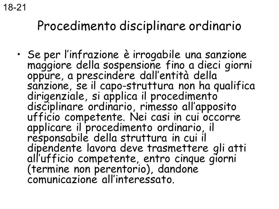 Procedimento disciplinare ordinario Se per linfrazione è irrogabile una sanzione maggiore della sospensione fino a dieci giorni oppure, a prescindere