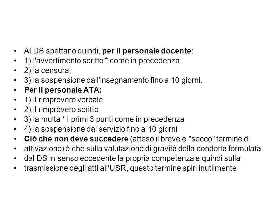 Al DS spettano quindi, per il personale docente: 1) l'avvertimento scritto * come in precedenza; 2) la censura; 3) la sospensione dall'insegnamento fi