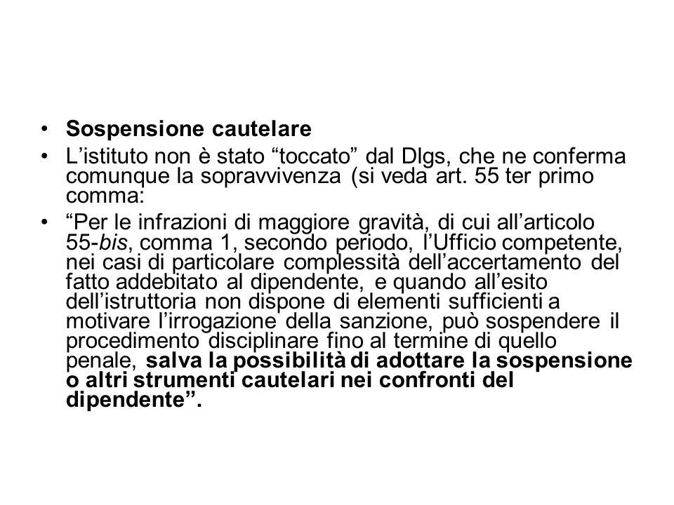 Sospensione cautelare Listituto non è stato toccato dal Dlgs, che ne conferma comunque la sopravvivenza (si veda art. 55 ter primo comma: Per le infra