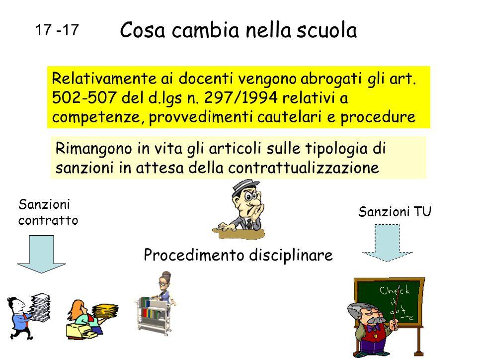 Cosa cambia nella scuola Relativamente ai docenti vengono abrogati gli art. 502-507 del d.lgs n. 297/1994 relativi a competenze, provvedimenti cautela