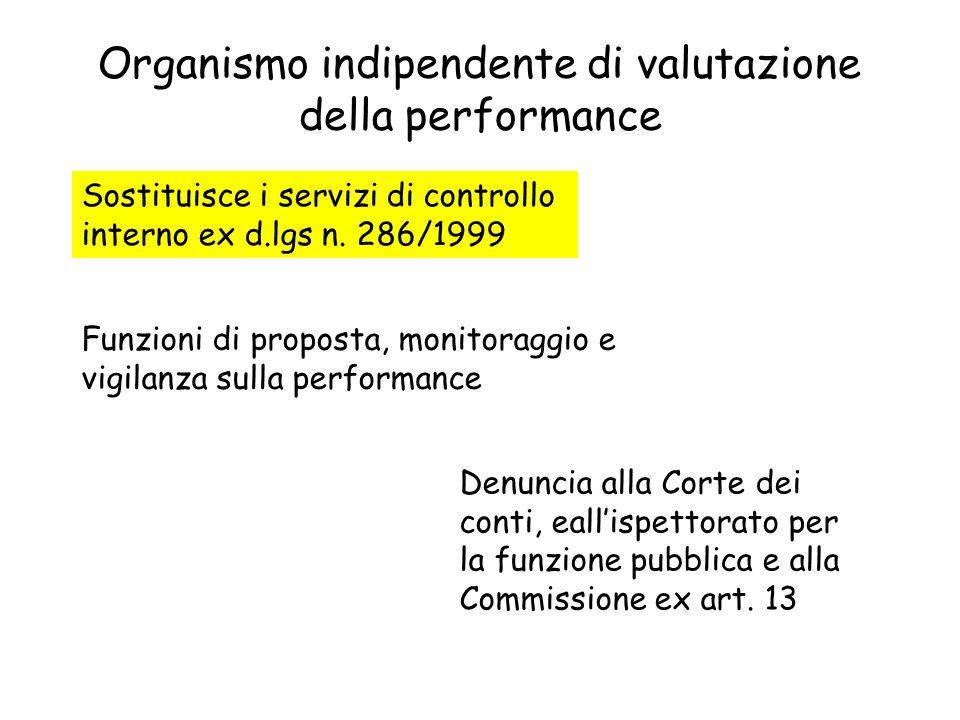 Organismo indipendente di valutazione della performance Sostituisce i servizi di controllo interno ex d.lgs n. 286/1999 Funzioni di proposta, monitora