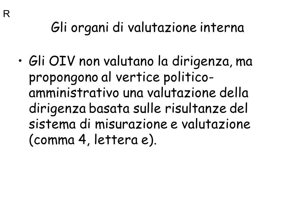 Gli organi di valutazione interna Gli OIV non valutano la dirigenza, ma propongono al vertice politico- amministrativo una valutazione della dirigenza