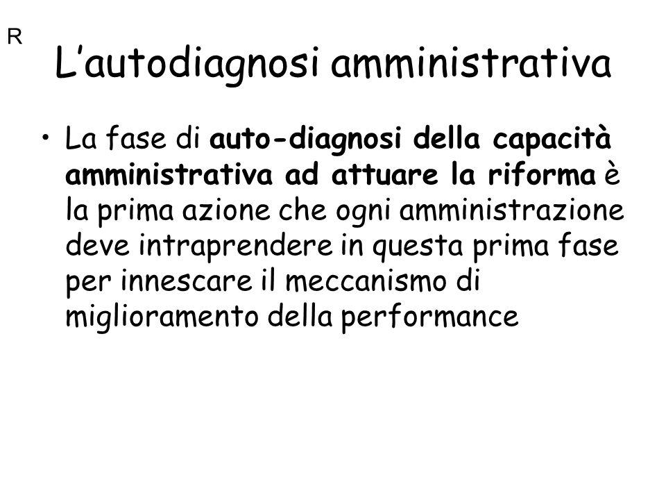 Lautodiagnosi amministrativa La fase di auto-diagnosi della capacità amministrativa ad attuare la riforma è la prima azione che ogni amministrazione d