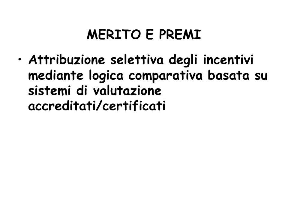 MERITO E PREMI Attribuzione selettiva degli incentivi mediante logica comparativa basata su sistemi di valutazione accreditati/certificati