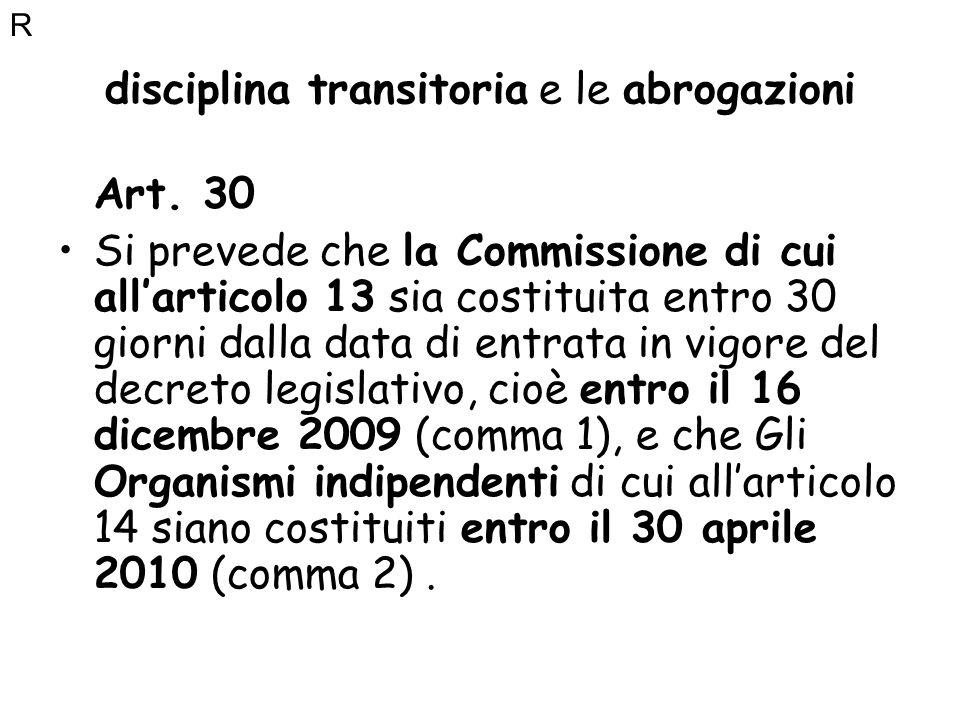 disciplina transitoria e le abrogazioni Art. 30 Si prevede che la Commissione di cui allarticolo 13 sia costituita entro 30 giorni dalla data di entra