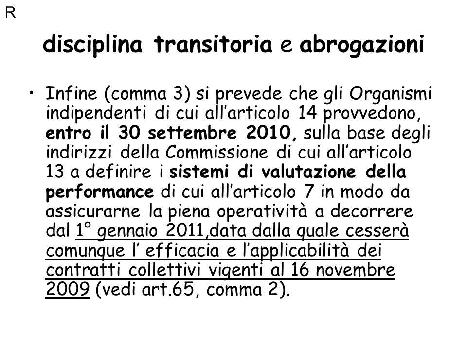 disciplina transitoria e abrogazioni Infine (comma 3) si prevede che gli Organismi indipendenti di cui allarticolo 14 provvedono, entro il 30 settembr