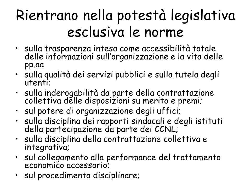 Rientrano nella potestà legislativa esclusiva le norme sulla trasparenza intesa come accessibilità totale delle informazioni sullorganizzazione e la v
