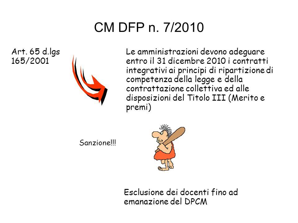 CM DFP n. 7/2010 Art. 65 d.lgs 165/2001 Le amministrazioni devono adeguare entro il 31 dicembre 2010 i contratti integrativi ai principi di ripartizio