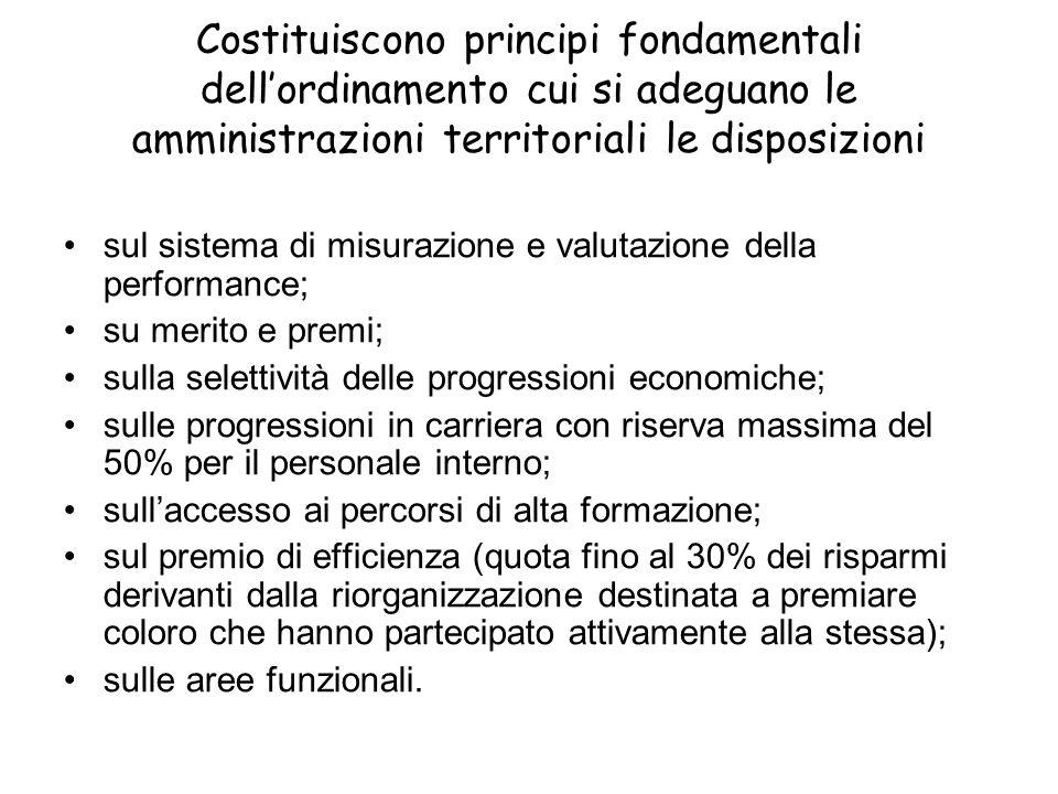 Costituiscono principi fondamentali dellordinamento cui si adeguano le amministrazioni territoriali le disposizioni sul sistema di misurazione e valut
