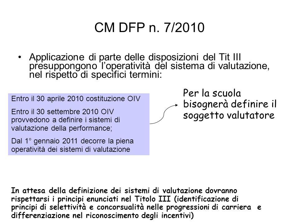 CM DFP n. 7/2010 Applicazione di parte delle disposizioni del Tit III presuppongono loperatività del sistema di valutazione, nel rispetto di specifici