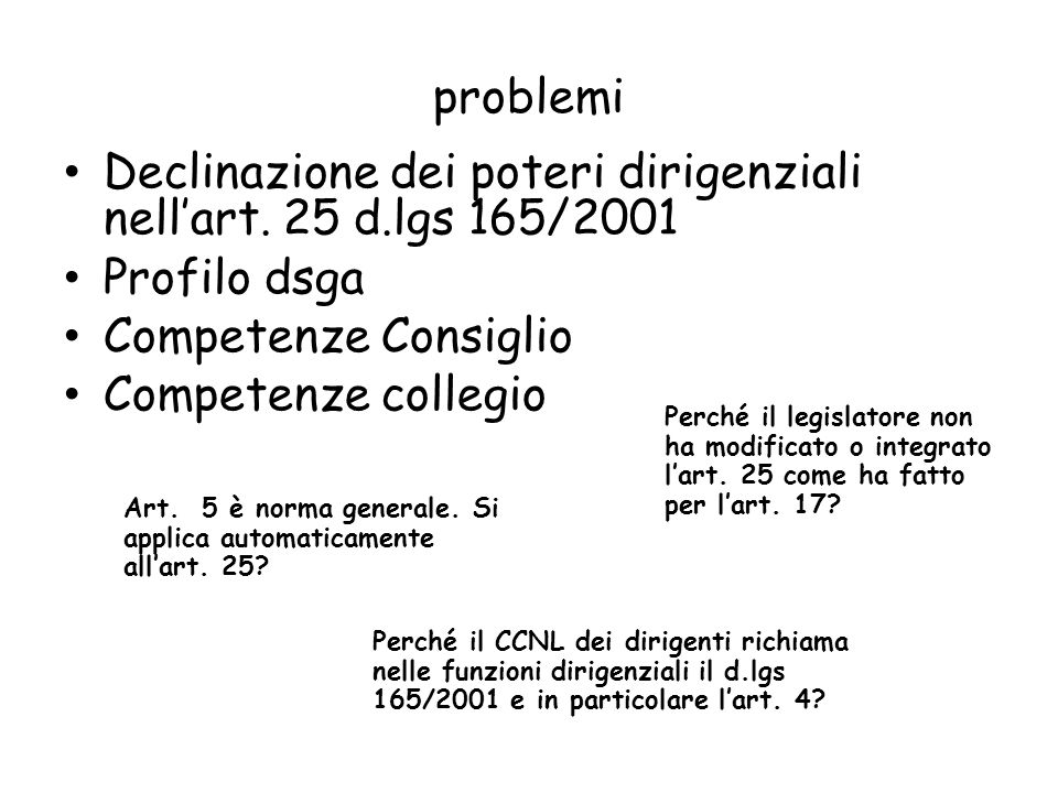 problemi Declinazione dei poteri dirigenziali nellart. 25 d.lgs 165/2001 Profilo dsga Competenze Consiglio Competenze collegio Art. 5 è norma generale
