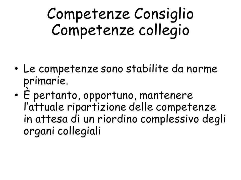 Competenze Consiglio Competenze collegio Le competenze sono stabilite da norme primarie. È pertanto, opportuno, mantenere lattuale ripartizione delle