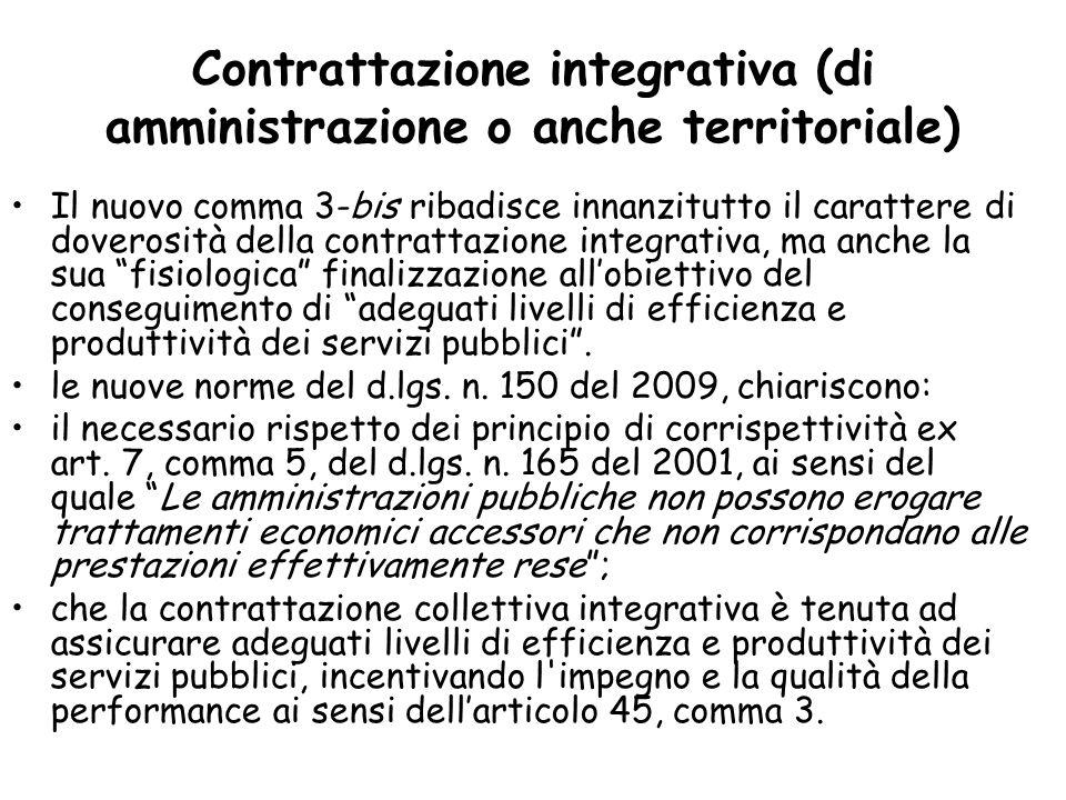 Contrattazione integrativa (di amministrazione o anche territoriale) Il nuovo comma 3-bis ribadisce innanzitutto il carattere di doverosità della cont