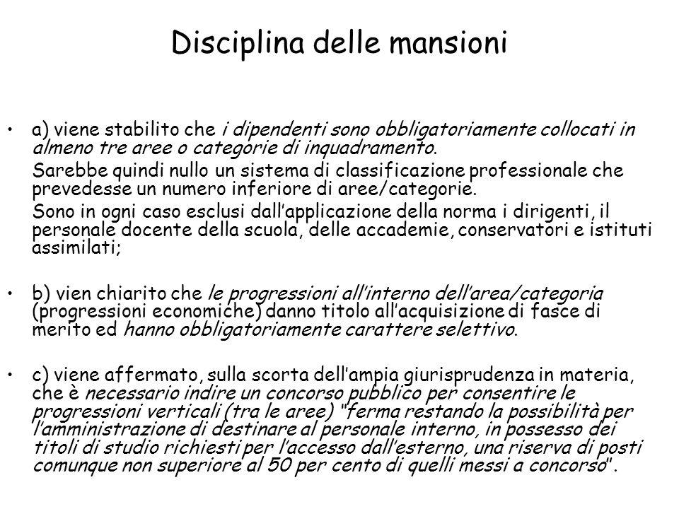 Disciplina delle mansioni a) viene stabilito che i dipendenti sono obbligatoriamente collocati in almeno tre aree o categorie di inquadramento. Sarebb
