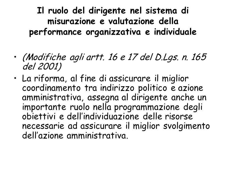 Il ruolo del dirigente nel sistema di misurazione e valutazione della performance organizzativa e individuale (Modifiche agli artt. 16 e 17 del D.Lgs.