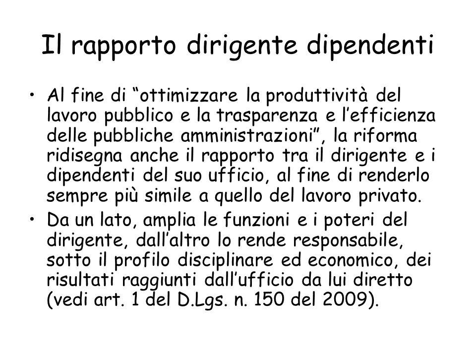Il rapporto dirigente dipendenti Al fine di ottimizzare la produttività del lavoro pubblico e la trasparenza e lefficienza delle pubbliche amministraz