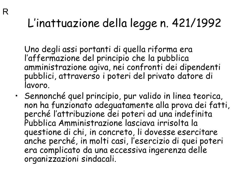 Linattuazione della legge n. 421/1992 Uno degli assi portanti di quella riforma era laffermazione del principio che la pubblica amministrazione agiva,