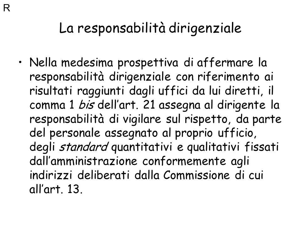 La responsabilità dirigenziale Nella medesima prospettiva di affermare la responsabilità dirigenziale con riferimento ai risultati raggiunti dagli uff