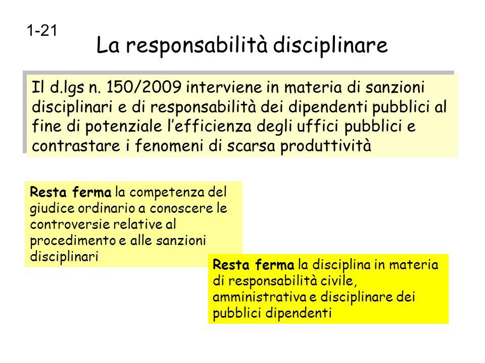 La responsabilità disciplinare Il d.lgs n. 150/2009 interviene in materia di sanzioni disciplinari e di responsabilità dei dipendenti pubblici al fine