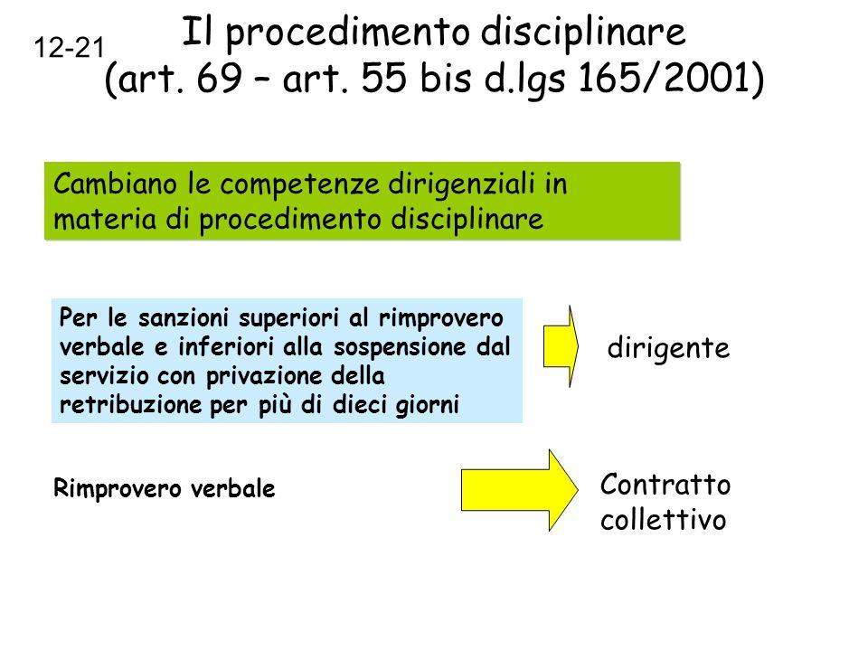 Il procedimento disciplinare (art. 69 – art. 55 bis d.lgs 165/2001) Cambiano le competenze dirigenziali in materia di procedimento disciplinare Per le