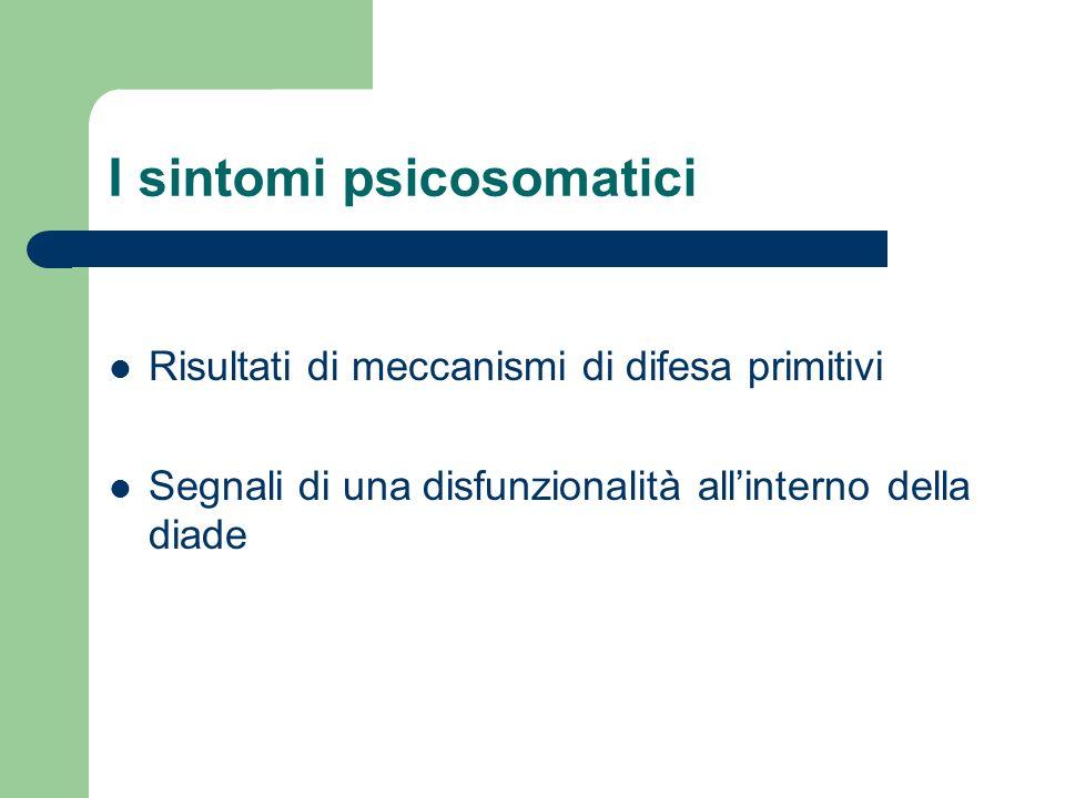 I sintomi psicosomatici Risultati di meccanismi di difesa primitivi Segnali di una disfunzionalità allinterno della diade