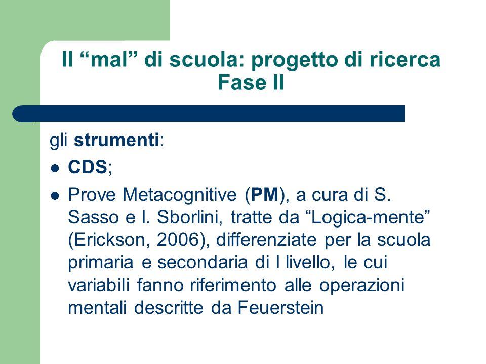 Il mal di scuola: progetto di ricerca Fase II gli strumenti: CDS; Prove Metacognitive (PM), a cura di S. Sasso e I. Sborlini, tratte da Logica-mente (