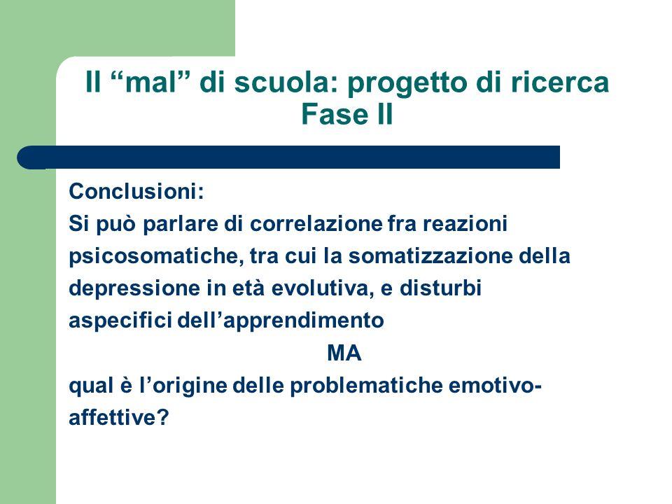 Il mal di scuola: progetto di ricerca Fase II Conclusioni: Si può parlare di correlazione fra reazioni psicosomatiche, tra cui la somatizzazione della