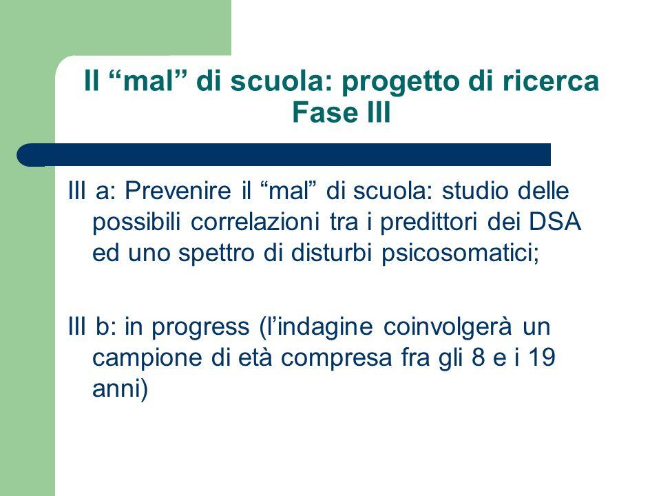 Il mal di scuola: progetto di ricerca Fase III III a: Prevenire il mal di scuola: studio delle possibili correlazioni tra i predittori dei DSA ed uno