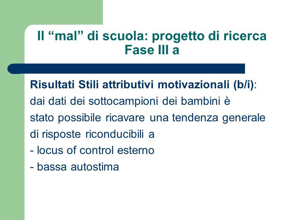 Il mal di scuola: progetto di ricerca Fase III a Risultati Stili attributivi motivazionali (b/i): dai dati dei sottocampioni dei bambini è stato possi