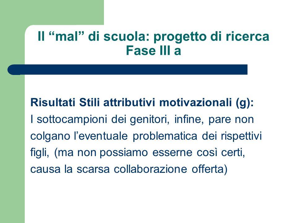 Il mal di scuola: progetto di ricerca Fase III a Risultati Stili attributivi motivazionali (g): I sottocampioni dei genitori, infine, pare non colgano