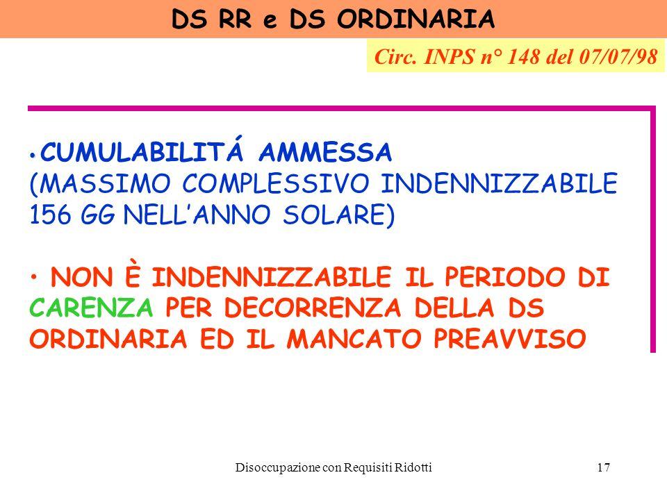 Disoccupazione con Requisiti Ridotti18 DS RR e SOCI DI COOPERATIVE Circ.