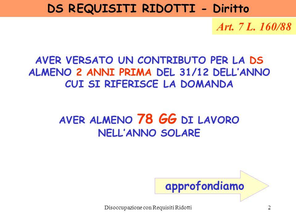 Disoccupazione con Requisiti Ridotti3 CASI PARTICOLARI perfezionamento biennio di anzianità assicurativa Lavoratore agricolo dipendente a Tempo Determinato nellanno solare precedente, anche per una sola giornata (Art.