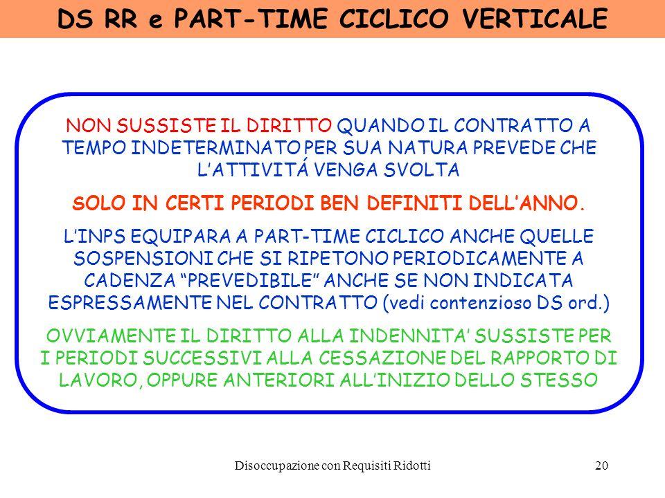 Disoccupazione con Requisiti Ridotti21 DS RR e ASSIMILATI A PART-TIME LINPS ASSIMILA TALE CASISTICA A RAPPORTO PART-TIME ADDETTI A MENSE SCOLASTICHE O AL TRASPORTO DEI RAGAZZI A SCUOLA