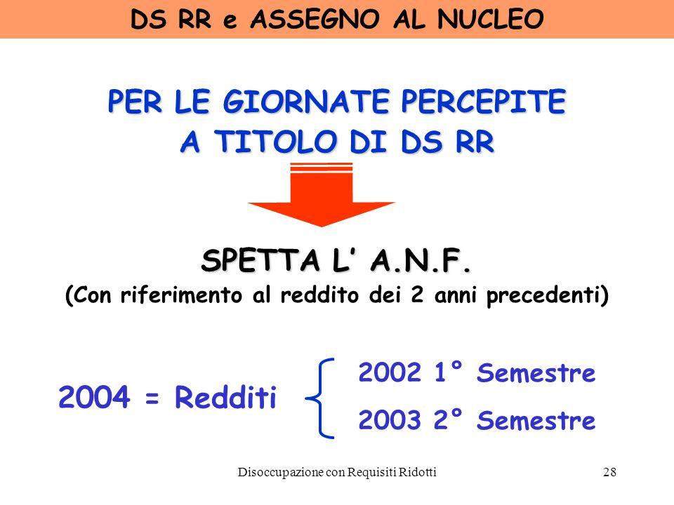 Disoccupazione con Requisiti Ridotti29 DS RR - ACCREDITO FIGURATIVO Messaggio INPS n° 19456 del 25/10/88 - Circ.