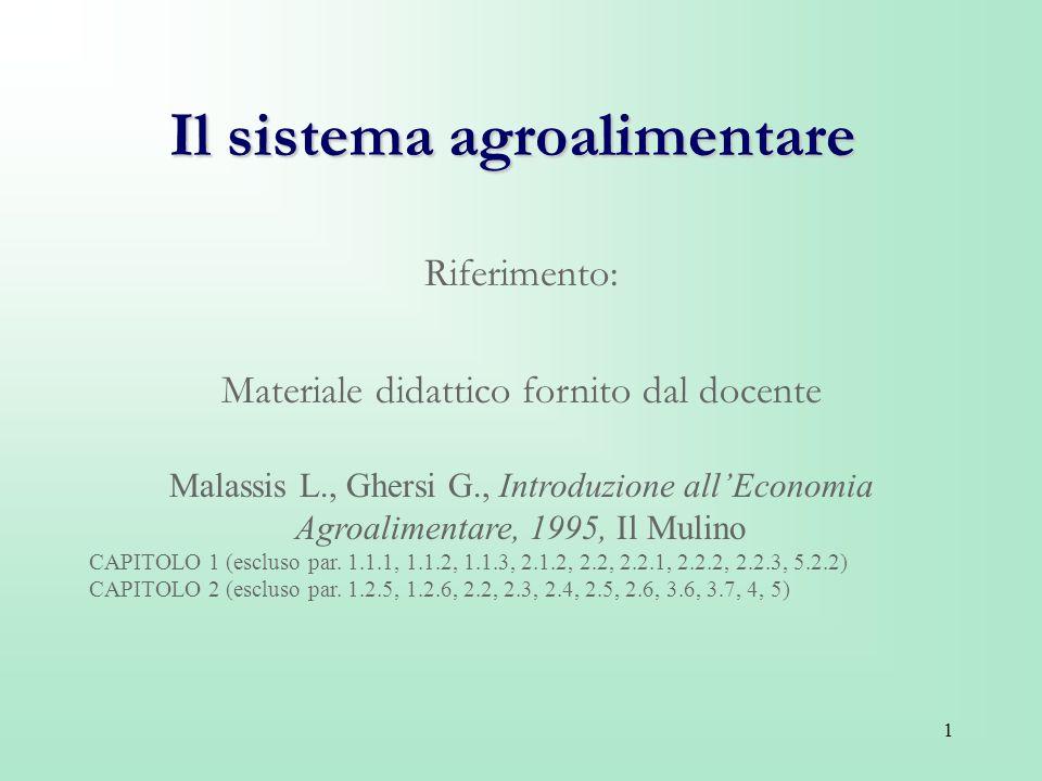 1 Il sistema agroalimentare Riferimento: Materiale didattico fornito dal docente Malassis L., Ghersi G., Introduzione allEconomia Agroalimentare, 1995