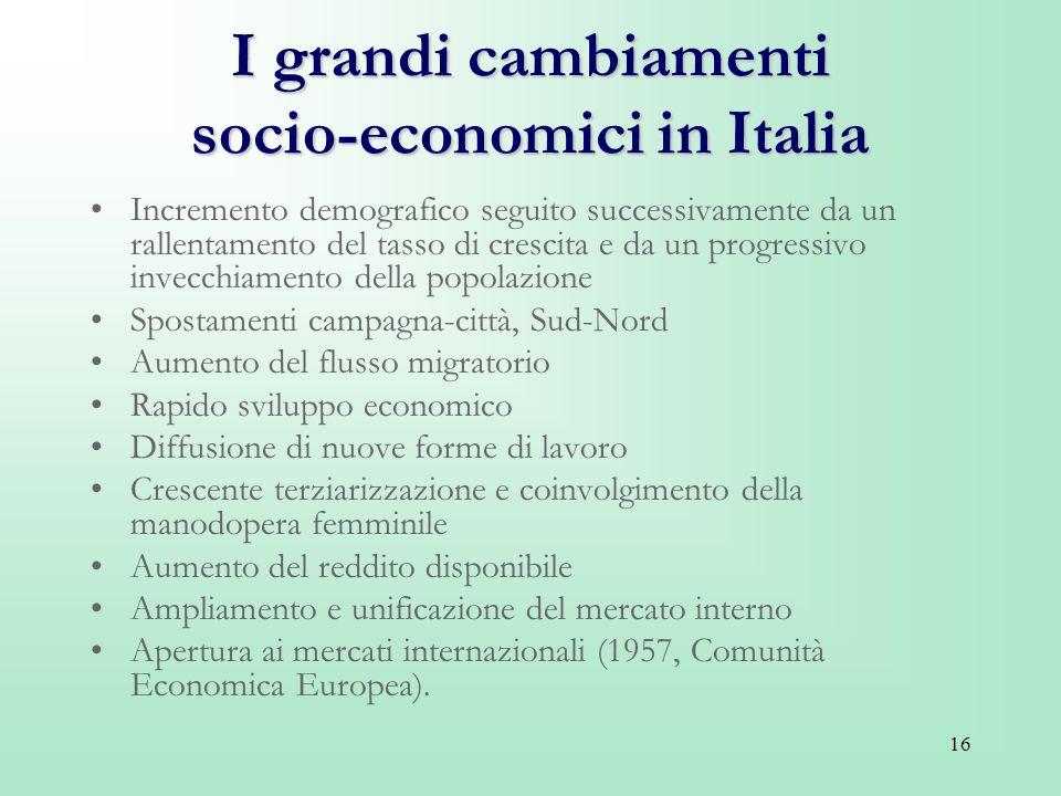 16 I grandi cambiamenti socio-economici in Italia Incremento demografico seguito successivamente da un rallentamento del tasso di crescita e da un pro