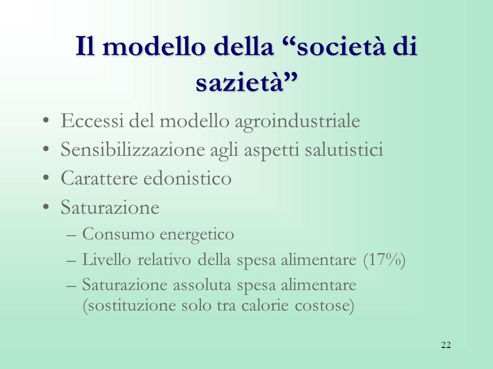 22 Il modello della società di sazietà Eccessi del modello agroindustriale Sensibilizzazione agli aspetti salutistici Carattere edonistico Saturazione