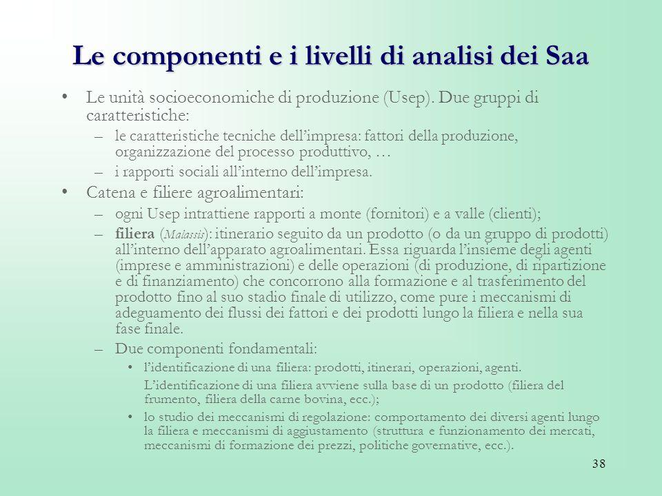 38 Le componenti e i livelli di analisi dei Saa Le unità socioeconomiche di produzione (Usep). Due gruppi di caratteristiche: –le caratteristiche tecn