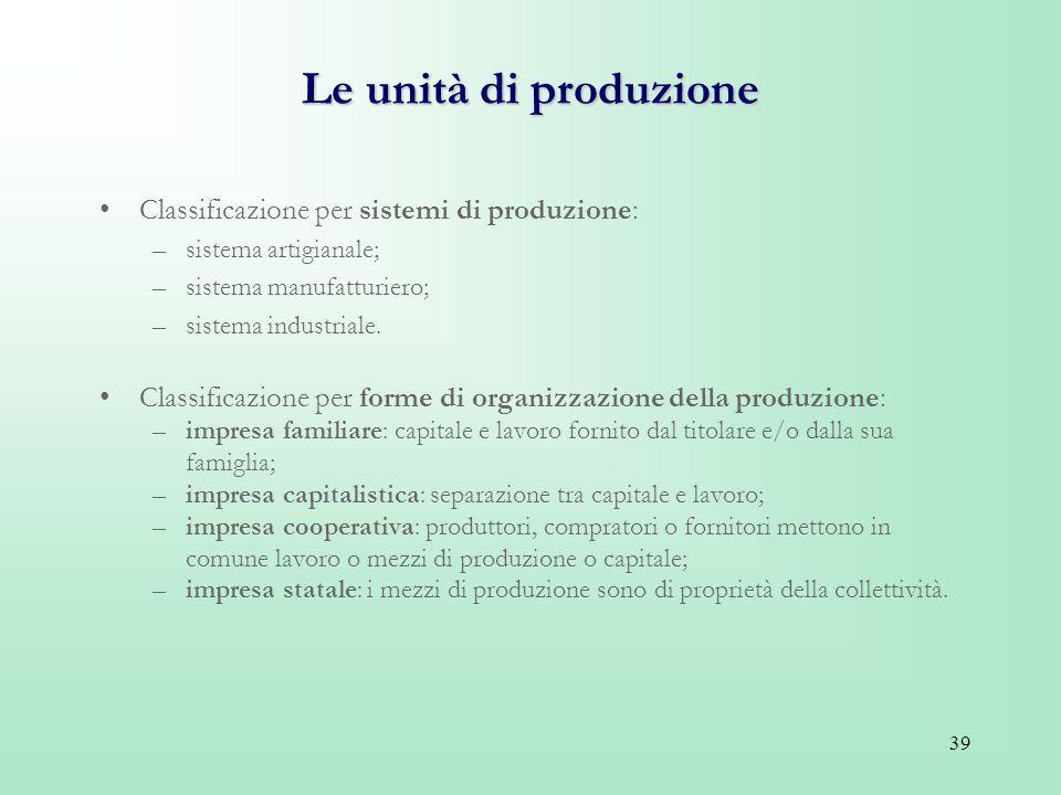 39 Le unità di produzione Classificazione per sistemi di produzione: –sistema artigianale; –sistema manufatturiero; –sistema industriale. Classificazi