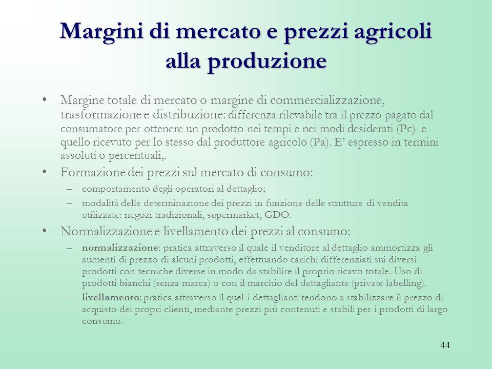 44 Margini di mercato e prezzi agricoli alla produzione Margine totale di mercato o margine di commercializzazione, trasformazione e distribuzione: di