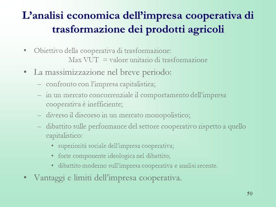 50 Lanalisi economica dellimpresa cooperativa di trasformazione dei prodotti agricoli Obiettivo della cooperativa di trasformazione: Max VUT = valore