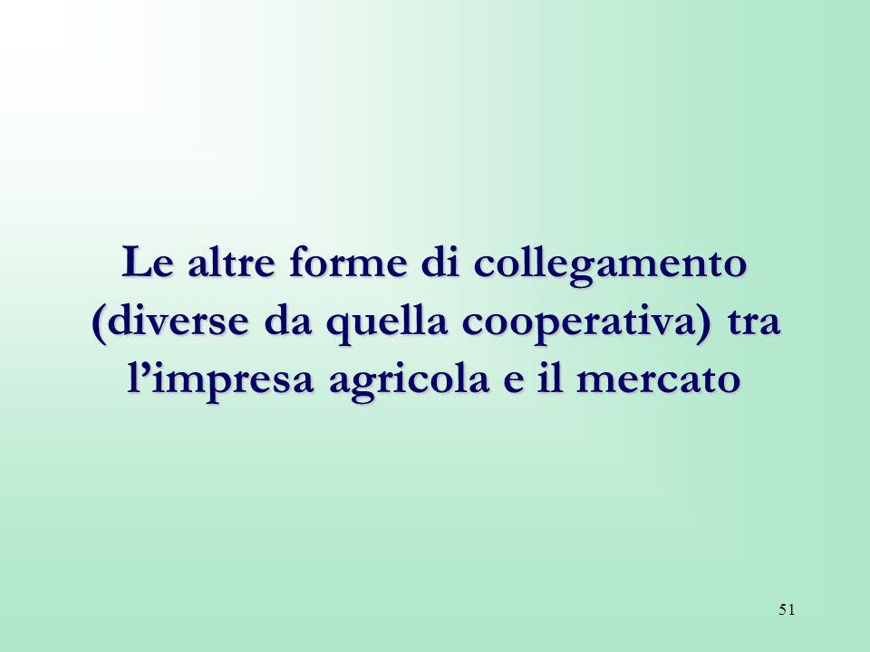 51 Le altre forme di collegamento (diverse da quella cooperativa) tra limpresa agricola e il mercato